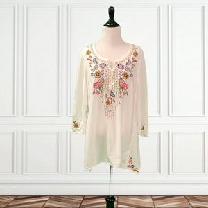 J.Jill Embroidered Floral Long Sleeve Tunic Top M